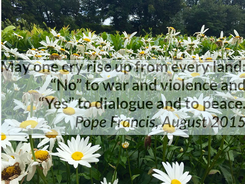 International Women's Day, 8 March: Thank Pope Francis for his leadership on peace andnonviolence